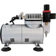 This is a fairly standard tank-less compressor. Note that this one has a moisture trap and regulator attached.
