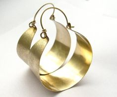 Large Bronze And Gold Filled Hoop Earrings - Big Mixed Metal Earrings - Metalwork Jewelry