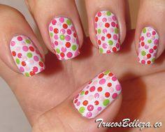 flower nails - Easy Nail Art for Beginners Dot Nail Art, Polka Dot Nails, Nail Polish Art, Polka Dots, Dot Nail Designs, Nail Polish Designs, Pointed Nails, Flower Nails, Tips Belleza