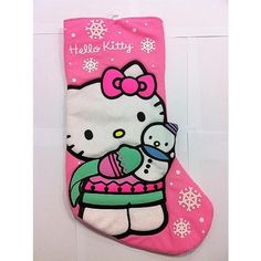 New Hello Kitty Pink Plush Stocking Gift Snowman White Snowflakes Christmas 19 | eBay