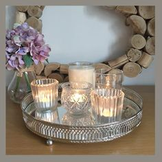 Silver mirror candle tray