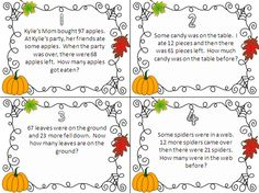 A great blog post about the different types of addition and subtraction word problems required for the Common Core!  Also links to a cute set of fall themed task cards around adding and subtracting word problems!