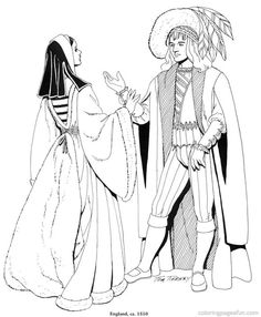 Renaissance Costumes And Clothing Coloring Pages 22