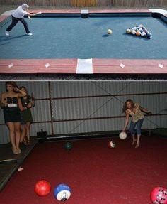 Giant pool table using bowling balls!!