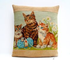 French Needlepoint Tapestry Kittens Cats Grain by Retrocollects £40 https://www.etsy.com/shop/Retrocollects