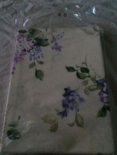The Company Store King Pillowcase Cream and Purple flowers 100% Cotton QH66 #TheCompanyStore