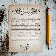 Rustic Wedding Invitation Suite - Laurels, Vintage, Antique, country wedding invitation suite, simple design, program, RSVP cards, insert on Etsy, $2.60