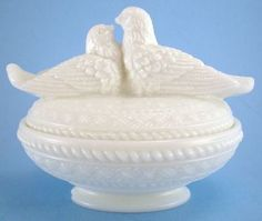 Westmoreland Milk Glass Love Birds Covered Candy Dish    Just got this for my birthday...a beautiful addition to my milk glass collection.  Thanks Diane!