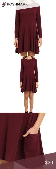Wine colored tshirt dress with pockets Wine colored loose T-shirt dress has pockets fabric is stretchy worn once Dresses Long Sleeve