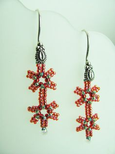 Beadwork Earrings Red and Green Christmas by BohemianIce, $10.00