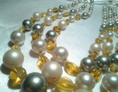 Vintage Gold Japan Chunky Amber Gray Cream Multi Strand Adj. Faux Pearl Necklace #Japan