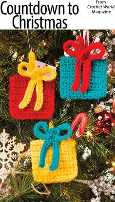 Countdown to Christmas from the December 2016 issue of Crochet World Magazine. O… Countdown to Christmas from the December 2016 issue of Crochet World Magazine. Order a digital copy here: www. Crochet Christmas Decorations, Crochet Christmas Ornaments, Christmas Knitting, Christmas Items, Christmas Projects, Christmas Crafts, Christmas Christmas, Christmas Countdown, Crochet Decoration