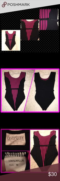 "Vintage black & hot pink striped belted leotard 😎 Measurements : 15"" underarm to underarm, 12"" waist, 10"" leg opening, see last pic for more detailed measurements. These measurements are taken Unstretched  Material: 100% nylon   This is an amazing piece! Super sexy 80's to the max! Black and hot pink striped belted (yes with loops!) stretchy leotard in excellent like new condition.  The belt is plastic and the kind that you used like when you were a kid. Twist and snap.   Perfect for…"