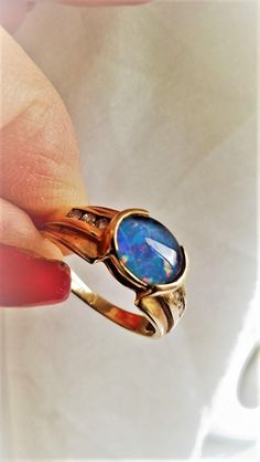 8c67ea70d5 Modernist Black Opal Triplet Diamond 10K Yellow Gold October Birthstone  Right Hand Promise Ring! Vintage