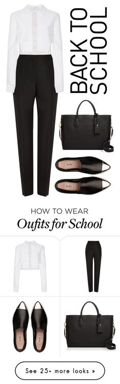 """back to school"" by madedinorog on Polyvore featuring Balenciaga, Carolina Herrera, Miu Miu and Longchamp"