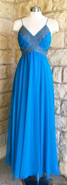 Vintage 1960s Mike Benet Blue Chiffon Evening Gown by DandyVandy