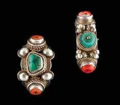 Tibet |  Silver, coral and Turquoise rings