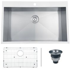 "5. Ruvati RVH8000 Overmount 16 Gauge 33"" Kitchen Sink Single Bowl, Stainless Steel"