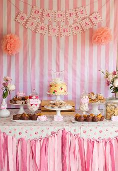 Pretty dessert table at a baking birthday party! See more party planning ideas at CatchMyParty.com!