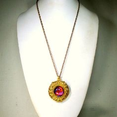 Dragons Eye Pillbox Pendant Necklace, Snap Hinge Box Amulet on Gold... ($18) ❤ liked on Polyvore featuring jewelry, necklaces, snap jewelry, gold chain jewelry, yellow gold pendant necklace, gold pendant necklace and yellow gold jewelry