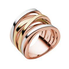 £89 Michael Kors Tri-Tone Layered Ring - Ring Size 6 | Michael Kors | Brands | Goldsmiths