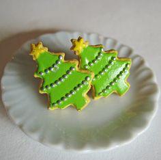Christmas Tree Sugar Cookie Earrings  Miniature Food Jewelry
