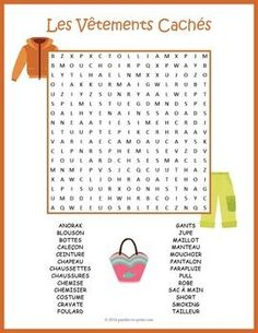 A word search worksheet featuring 26 words for French clothing items. Puzzlers…
