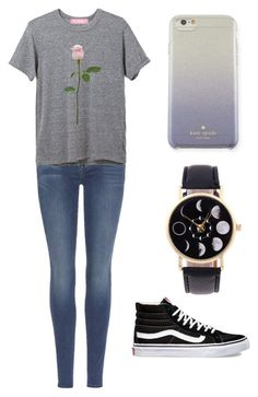 """Rose"" by fangirlmendes on Polyvore featuring 7 For All Mankind, Vans and Kate Spade"