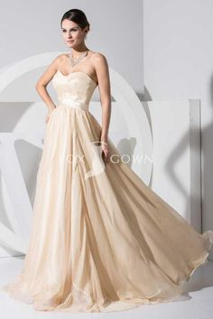 long sleeve champagne colored evening gowns   Champagne Sweetheart Sleeveless A-line Floor Length Prom Dress with ...