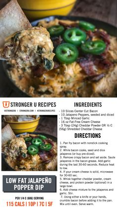 Jalapeño Popper Dip Stärkeres U Source by . Healthy Appetizers, Healthy Snacks, Healthy Eating, Healthy Recipes, Jalapeno Popper Dip, Macro Meal Plan, New Recipes, Cooking Recipes, Macro Friendly Recipes