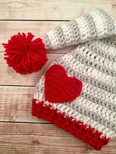 Baby Pom Pom Stocking Beanie and Heart by mamamegsyarnshoppe