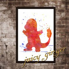 Pokemon Charmander Poster Anime Watercolor Home by juicyginger