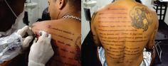 Tatuagem / Escrita / Oração / São Jorge / Religioso / Fé / Costas / Tattoo / Writing / Prayer / Saint George / Religious / Faith / Back #studio900 #crismaia