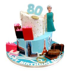 Salwa's 80th BirthdayTravel Cake When Salwa turned the great age of 80 her family treated her to a special party at the Le Sajj Restaurant in Brooklyn! Salwa loves travelling and this cake was deigned to showcase the places she has visited and her love for shopping. The cake had to feed 25 people and we decided on a two tier topsy-turvy style. Topsy turvy cakes have the tops of the tiers cut ..... http://cmnycakes.com/gallery2/v/Cakes+For+All+Occasions/Salwas+80th+BirthdayTravel+Cake.html?