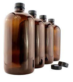 Amber Kombucha Growler Bottles 1 Quart Boston Round Glass Bottles w/ 6 Polycone Phenolic Lids for Home Brewing Best Kombucha, Kombucha Scoby, How To Brew Kombucha, Kombucha Bottles, Fun Drinks Alcohol, Alcoholic Drinks, Kombucha Starter, Water Kefir, Amber Glass Bottles