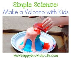 How to Make a Volcano using playdough, a paper cup, baking soda, vinegar and food colouring