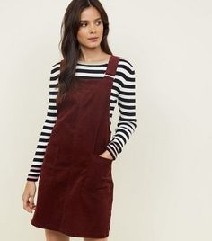 48f1f772e09 Burgundy Corduroy Pocket Front Pinafore Dress Pinafore Dress Outfit