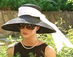 Audrey Hepburn Hat Breakfast at Tiffanys Hat wedding hat formal black Ascot hat #AWARDMILLINERYDESIGN #WideBrimChurchKentuckyDerbyAudreyHepburn #DerbyhatWeddinghatAscothat