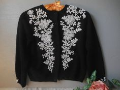 Beaded White on Black Wool Sweater Cardigan Ornate Size Small Vintage Retro at Quilted Nest Sweater And Shorts, Sweater Cardigan, Vintage Shops, Retro Vintage, Cute Modest Outfits, Hanging Beads, White Cardigan, White Beads, Black Wool