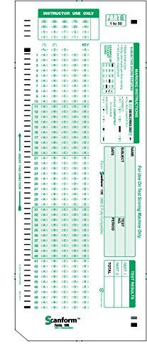 """SCANFORM-100, 882 E Compatible Testing Forms (50 Sheet Pack)  Scanform factory sealed packs, Perfect for College and University Students  Scanform own Scantron 882 e compatible testing forms.  2 Sided Form Dimensions: 4.25""""x11"""" Corner Cut for directional purposes  100 Question 50 Per Side 5 Choice T/F & A to E  888P, 888P+, Use Item Analysis Form PDP 9700 Compatible"""