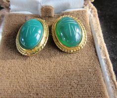 $9.99  Gold Tone Green GLASS SCARAB Pierced Earrings by feathersoup on Etsy
