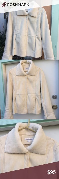"""Calvin Klein gorgeous white faux sheepskin jacket This gorgeous white faux sheepskin jacket is near perfect at 24"""" in length, 22"""" across zipped/snapped up, 23"""" sleeves, w 4"""" cuffs to adjust.  This is a real Beaty snuggler...so nice you could use as a 🎁 Calvin Klein Jackets & Coats"""