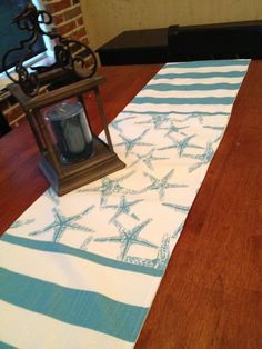 Starfish beach stripe table runner by WhimsicalDesignsbyMe on Etsy, $35.00:
