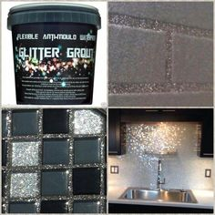 Glitter grout for your next glam DIY home improvement project Glitter Grout, Glitter Paint For Walls, Glitter Bathroom, Glitter Eyeshadow, Glitter Mirror, Glitter Paint Kitchen, Glitter Paint Backsplash, Glitter Makeup, Bling Bathroom