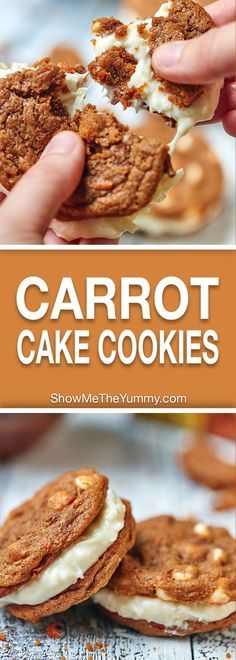 Carrot Cake Cookies with Toasted Coconut Cream Cheese Frosting. A sweet treat for Easter day! showmetheyummy.com