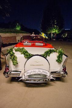 getaway car with a garland! | Bamber Photography #wedding