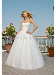 Ball Gown Tulle with Beaded Sash Beaded Waist Sash Corset Bodice Sweetheart Strapless Neckline Chapel Train Wedding Dresses