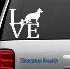 B1004 German Shepherd Love Dog Decal Sticker by BluegrassDecals