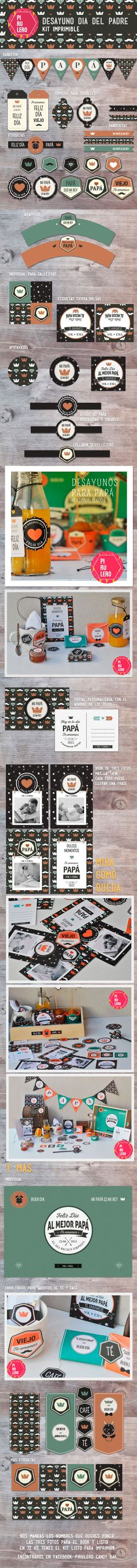 Kit imprimible desayuno dia del padre #fathersDay #papa #diadelPadre #Desayuno… Hobbies And Crafts, Diy And Crafts, Ideas Aniversario, Thanks Card, Dad Day, Silhouette Portrait, Party In A Box, Vintage Tags, Project Life