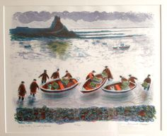 Bernard Cheese: Low Tide, Lindisfarne. Lithograph. Undated.